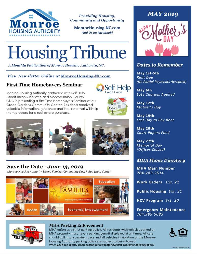 Monroe Housing Authority May 2019 Enewsletter