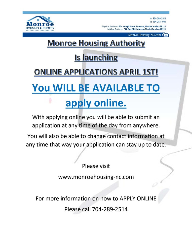 online applications - all information is listed below