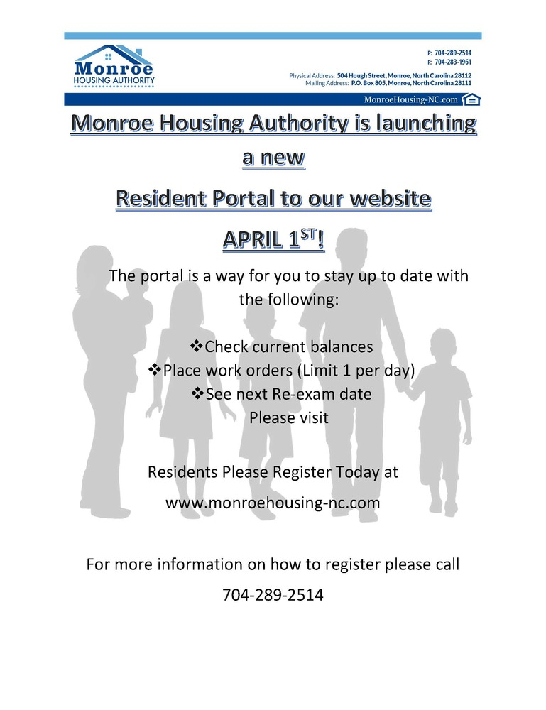 Resident Portal flyer - all information is listed below