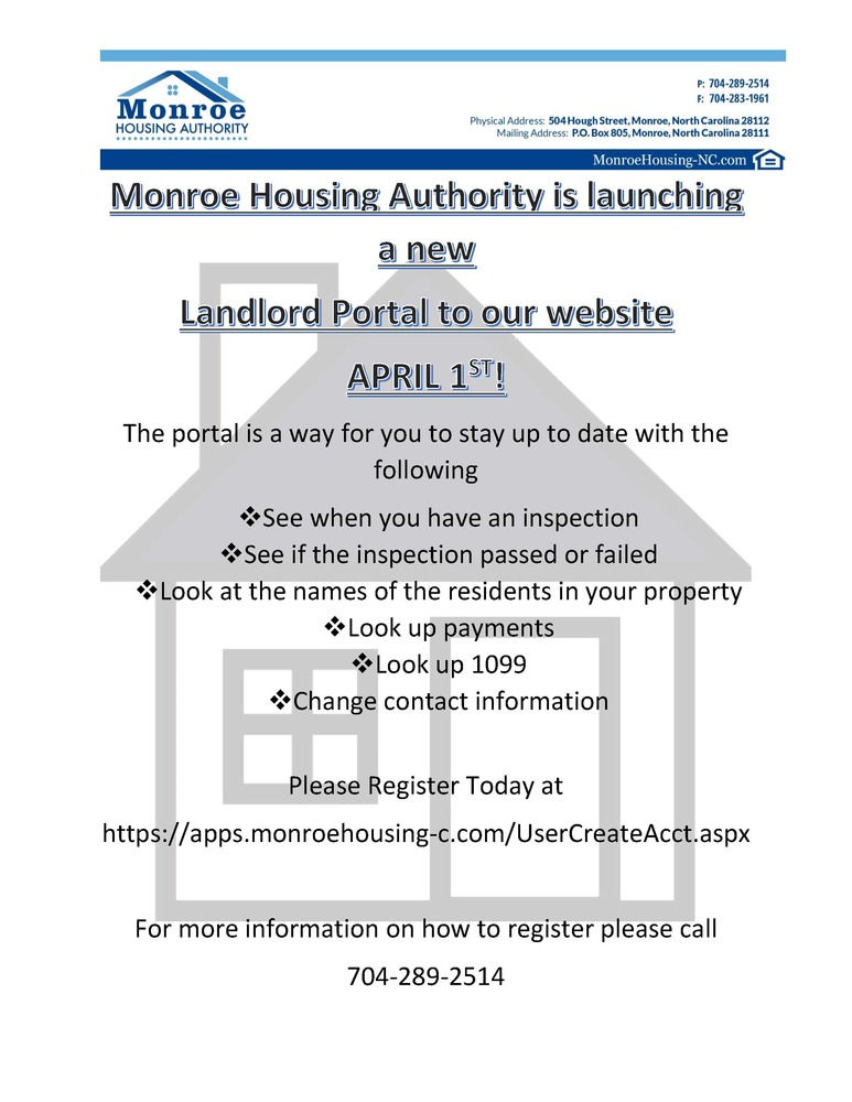 Landlord Portal flyer - all information is listed below