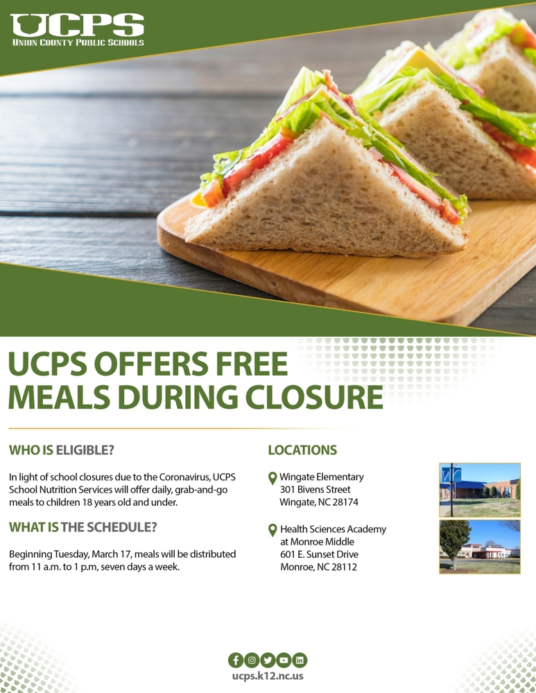 UCPS FREE MEALS - all information listed below