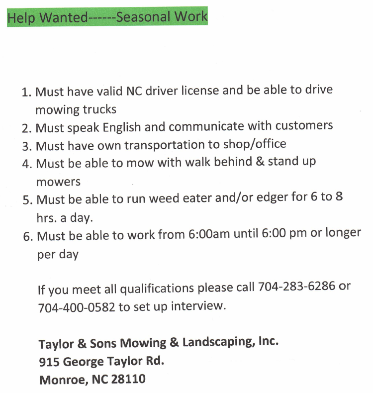 Help Wanted Seasonal Work